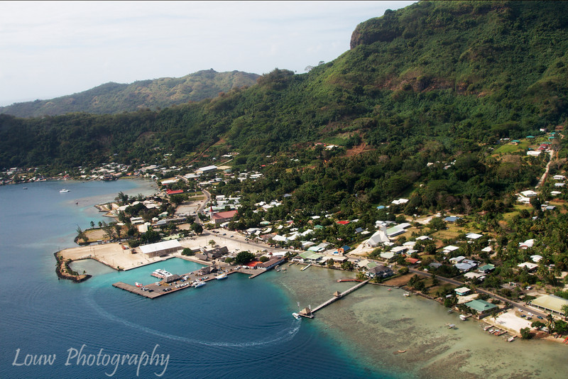 Aerial view of Vaitape, the main village of Bora Bora, French Polynesia