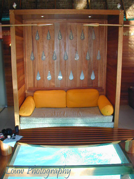 Overwater Bungalow interior at Le Meridien Bora Bora, French Polynesia