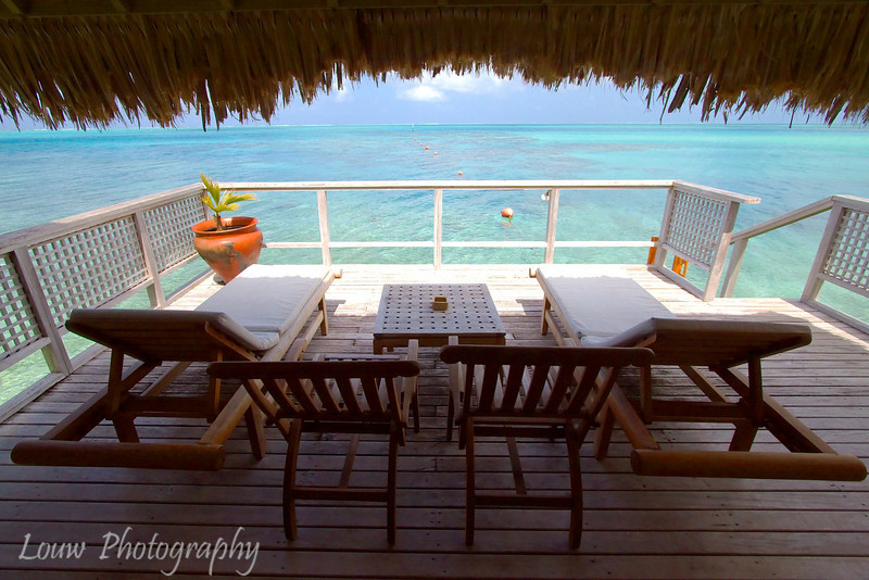 Outside deck of overwater bungalow, Hotel Bora Bora, French Polynesia