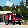 Fire truck at Fakarava airport, French Polynesia