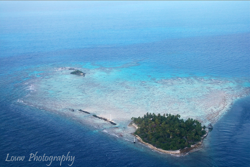 Aerial view while flying to Manihi, French Polynesia