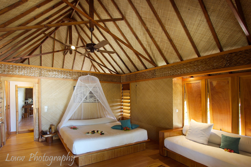 Interior of a beach bungalow, Manihi Pearl Beach Resort, French Polynesia