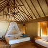 Interior of a beach bungalow, Manihi Pearl Beach Resort, French Polynesia