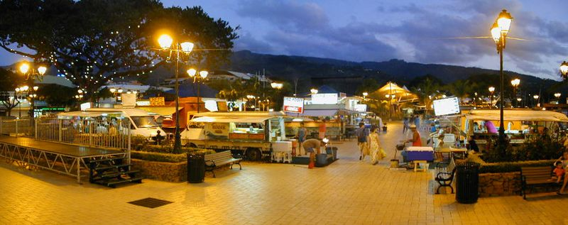 Roulottes (food trucks) at the dock, Tahiti, French Polynesia