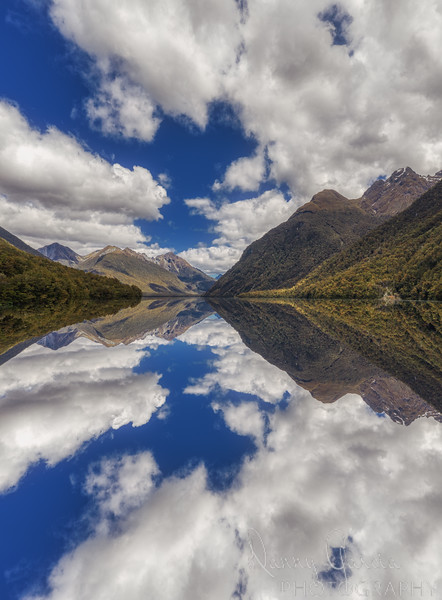 Reflections on Lake Gunn in New Zealand