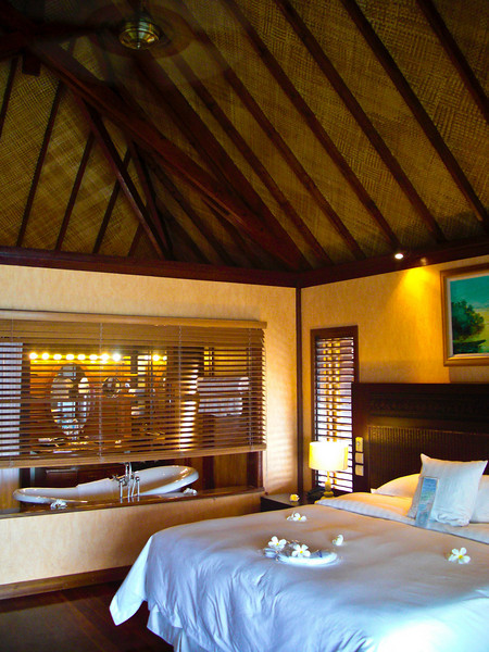 Inside an overwater bunglaow at the Hilton Moorea