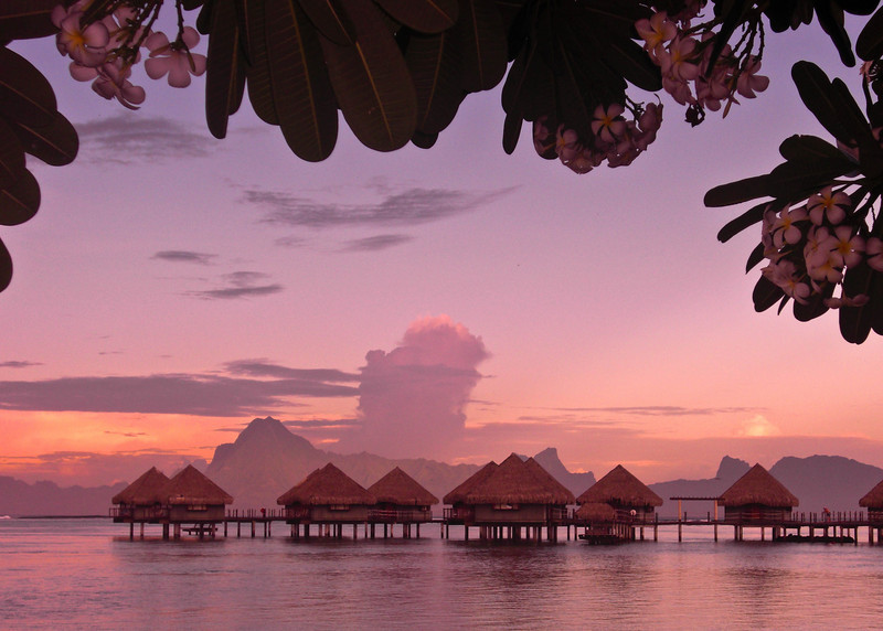 Sunrise at the Le Meridien Tahiti with the Island of Moorea off in the distance