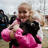 Kelly Bergevin, 7, holds Blizzard, a one-month-old goat from 'Animal Craze' out of Winchedon, during South Street Elementary School's annual science fair in Fitchburg on Saturday, April 8, 2017. SENTINEL & ENTERPRISE / Ashley Green
