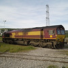 66114 crosses the foot crossing at Margam Knuckle Yard on 1/6/13
