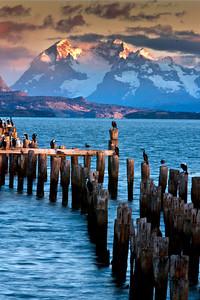 The pier at Puerto Natales at dawn