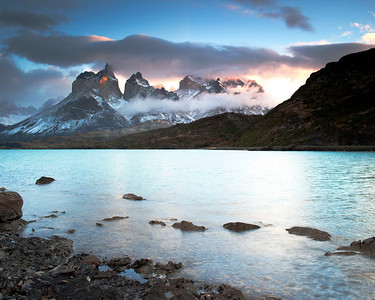 Early morning pink light at Lago Pehoe, Torres del Paine, Chile