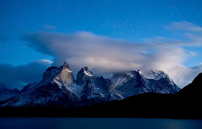 The horns in the predawn light with stars still visible overhead, Torres del Paine, Chile
