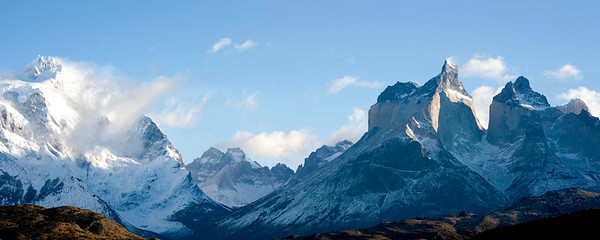 Another view of the horns with Piney Grande on the left in Torres del Paine, Chile