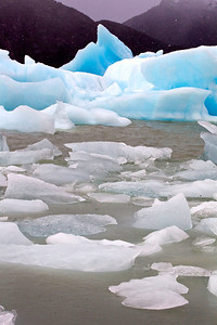 Icebergs built up in Lago Grey, Torres del Paine, Chile