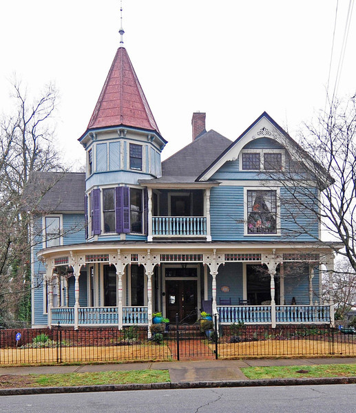 Hampton-Pinckney Historic District<br /> <br /> The Hampton-Pinckney Historic District is one of the oldest existing residential neighborhoods in Greenville. Architecturally it is representative of various styles and stages in Greenville's development. The Hampton-Pinckney Historic District is recognized as Greenville's finest remaining area of Victorian architecture. It contains a wide variety of Victorian housing styles and was the home of many prominent Greenville businessmen and local community leaders. It also contains three church structures. The district now encompasses seventy structures dating from ca. 1890 to ca. 1930, with the exception of the McBee House (ca. 1835). The architecture of the Hampton-Pinckney Historic District includes Italianate, Greek Revival, Queen Anne, various bungalows, and examples of Gothic Revival and Colonial Revival design, as well as vernacular forms. Listed in the National Register December 12, 1977; Boundary increase July 1, 1982.