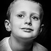 black and white photo of boy
