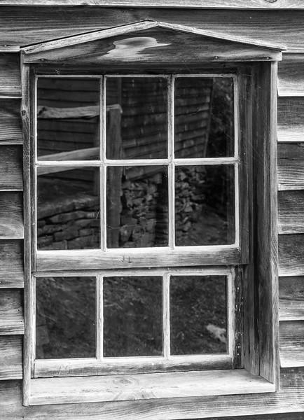 Blue Ridge Parkway - Bringegar Cabin Window Refelction-0290
