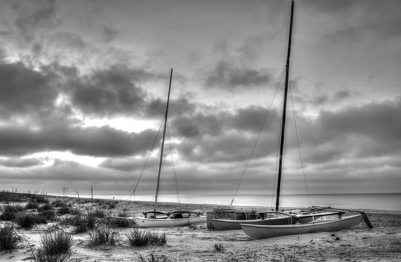 Boats on the Beach B&W-1