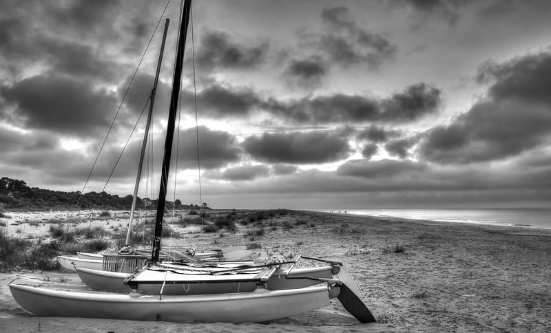 Boat on the Beach B&W-1