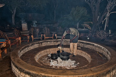 Our incredible cook, Daniel, preparing a traditional African meal for the first night at Camp Unicorn on the grounds of the white lion trust.
