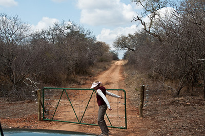 Karen gets to open the gate into the bush, just outside the camp.