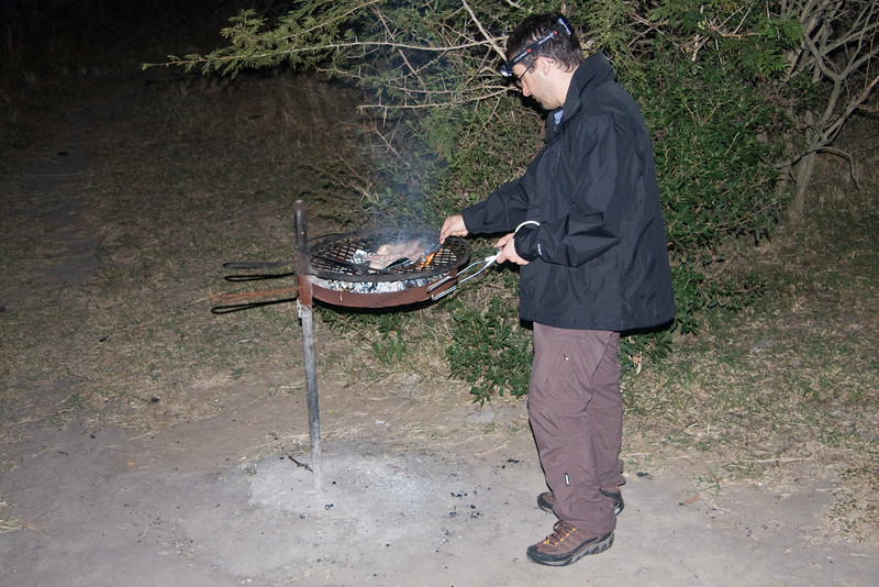 Yannick in charge of the Braai, I'm on hyena look-out duty