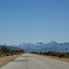 Route 62 heading to Cape Town, snow on the mountains