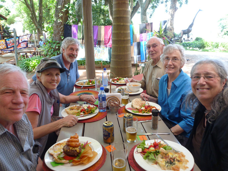 Left to right: Jerry, Susie, Peter, Jack, Judy, Terry <br /> A marvelous lunch in Swaziland.  Excellent.