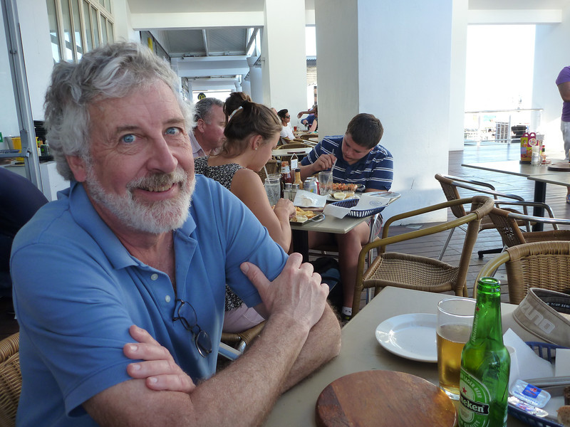 Peter at the wonderful Ocean Basket restaurant at the Victoria and Alfred Waterfront, Cape Town