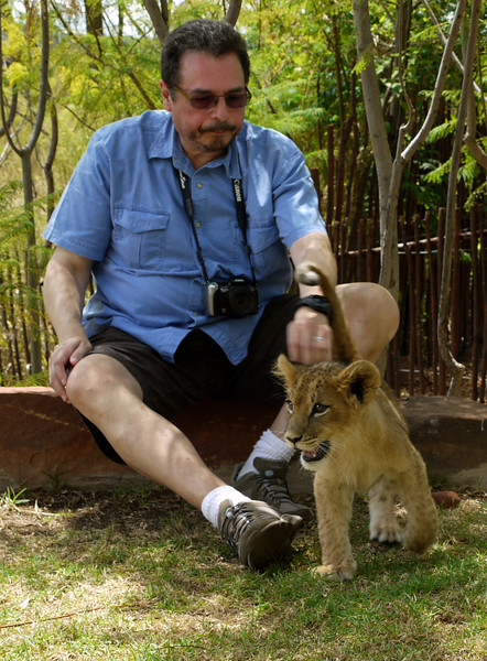 Gerard and fourteen-week old lion