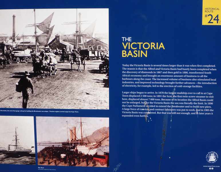 The shopping and tourist mecca, the V&A Waterfront was developed on the former docks, built originally before gold was discovered and expanded considerably afterwards.