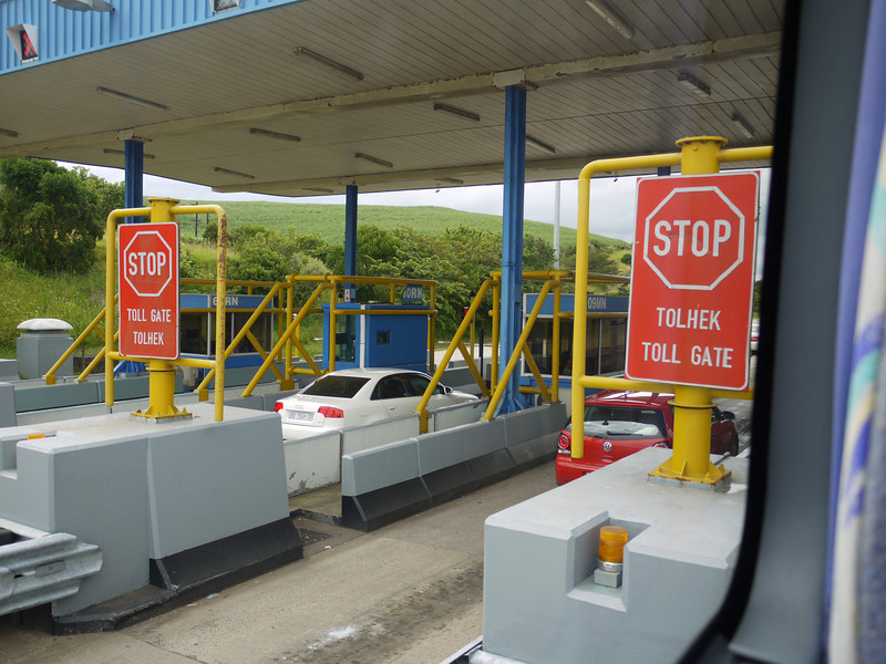 Toll gate, of course, but with serious protection for its tolltakers.