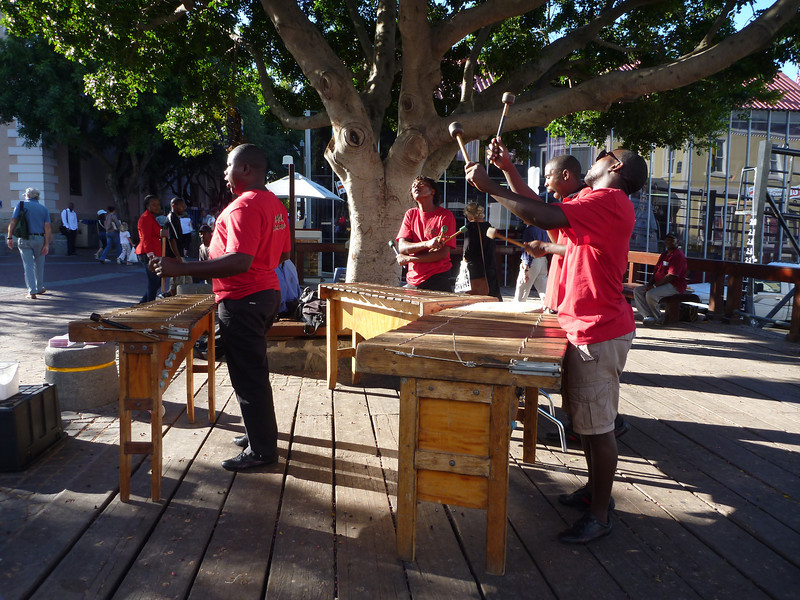 All sorts of bands at various venues at the Waterfront on a Saturday evening. This one consists of marimbas, played enthusiastically.