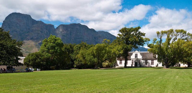 A winery in Stellenbosch, with classic Cape Dutch architecture in a beautiful setting.