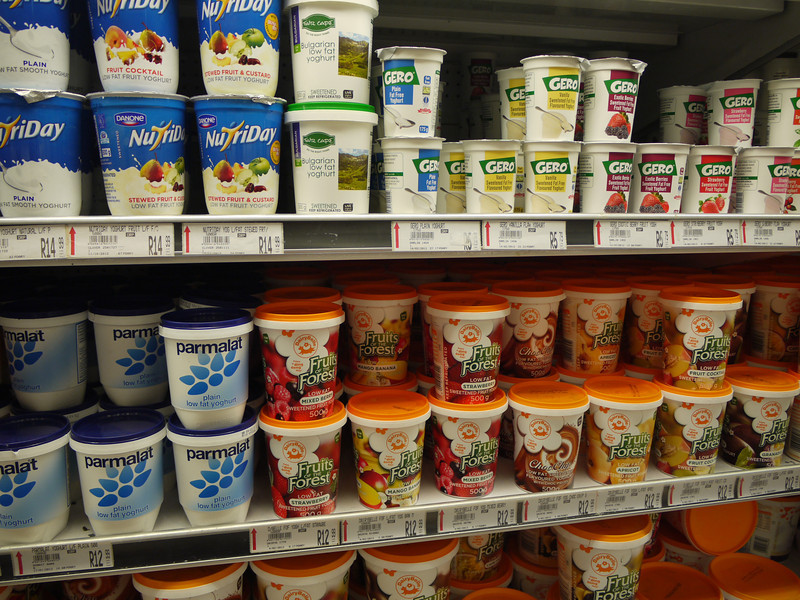 Lots of choices of yogurt in a Spar Supermarket, but even though everything is in English, we still don't know which to choose.  Eventually, we find a good plain one that doesn't even need sweetening.  We add granola to make a few meals. Travelers' survival skills.