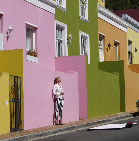 Cape Town, the Malay Quarter with all the restored and brightly painted houses.  This is apparently the subject of a fashion photo shoot.