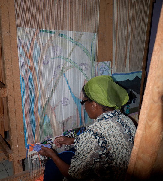 First the drawing in colored pencil, then the weaving to match the drawing.