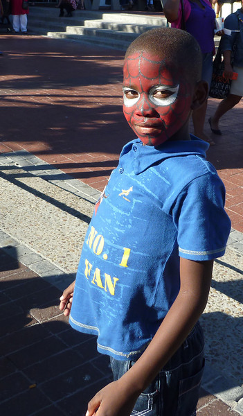 Spiderman is universally popular, I guess.  This young man had just had his face painted at the V&A Waterfront development in Cape Town.
