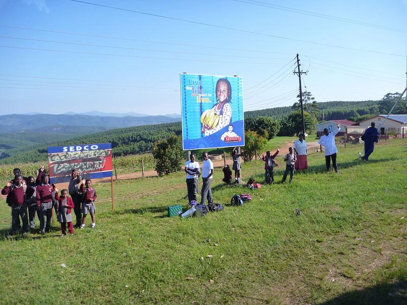 Waiting for a bus to school in Swaziland.