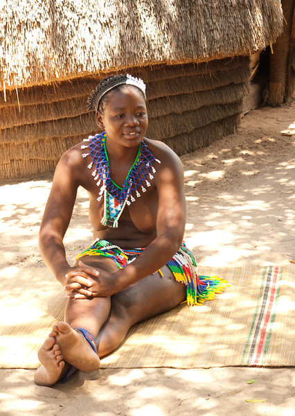 By Zulu tradition, unmarried young women went uncovered.