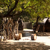 The recreated Zulu village, with thatched huts and stick fences to keep livestock in and wildlife out.