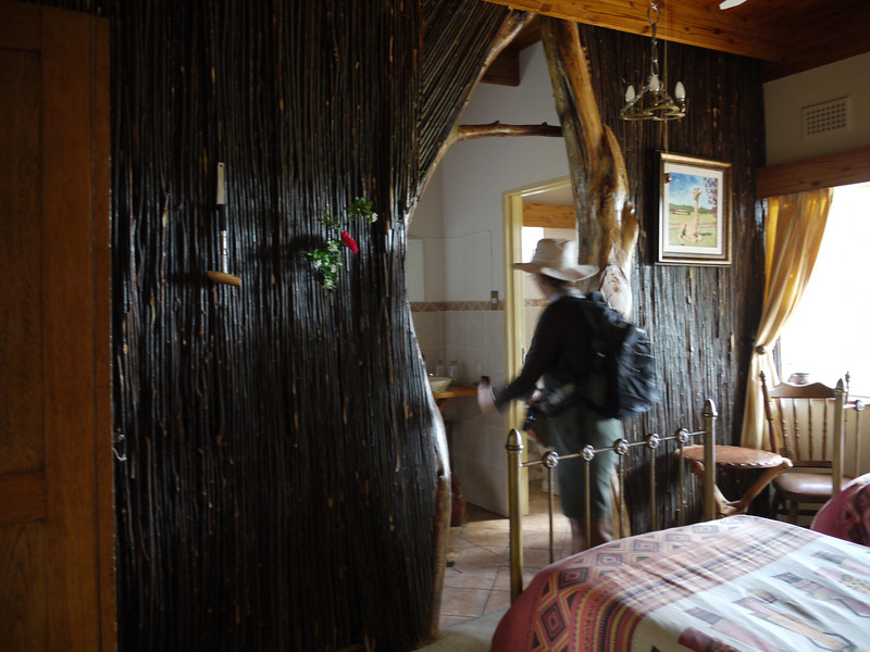 One of several rooms in the lodge.  That wall was built around the shapes of the wood that Alicia is looking through.