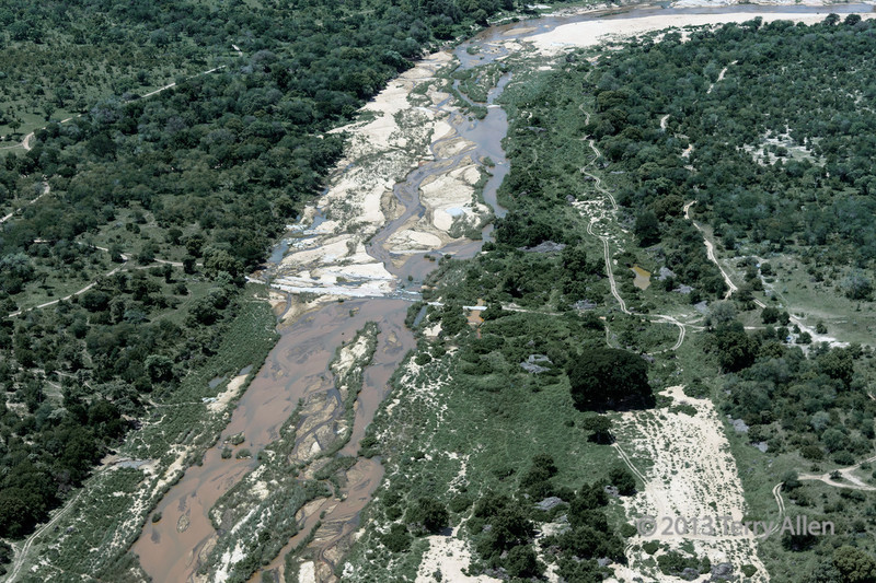 Sabi (needs to be confirmed) River from the air, Kreuger Park vicinity, South Africa