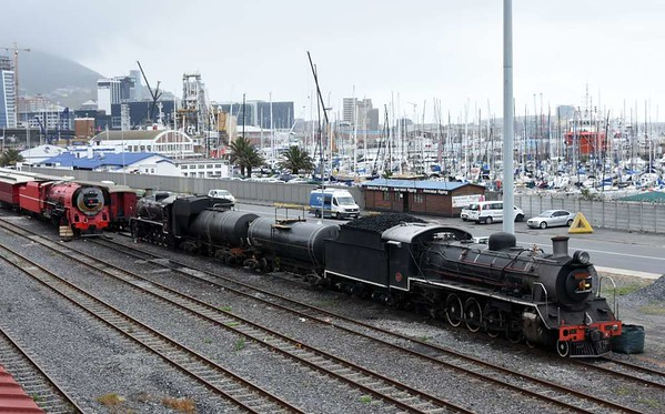 Red Devil, Dominique & Bailey (nearest), Cape Town docks, 14 September 2018.  All three locos are operational.  They work excursions for Ceres Rail from Cape Town to Elgin and other destinations in the Western Cape.