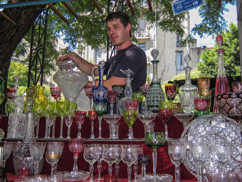 Crystal for sale, San Telmo Sunday Market.