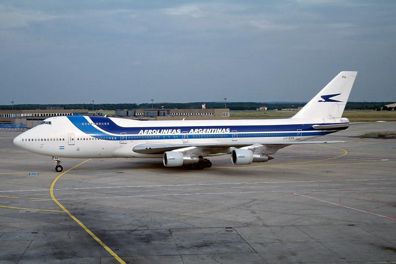 "LV-OPA Boeing 747-287B ""Aerolineas Argentinas"" c/n 22593 Frankfurt/EDDF/FRA 11-07-96 (35mm slide)"
