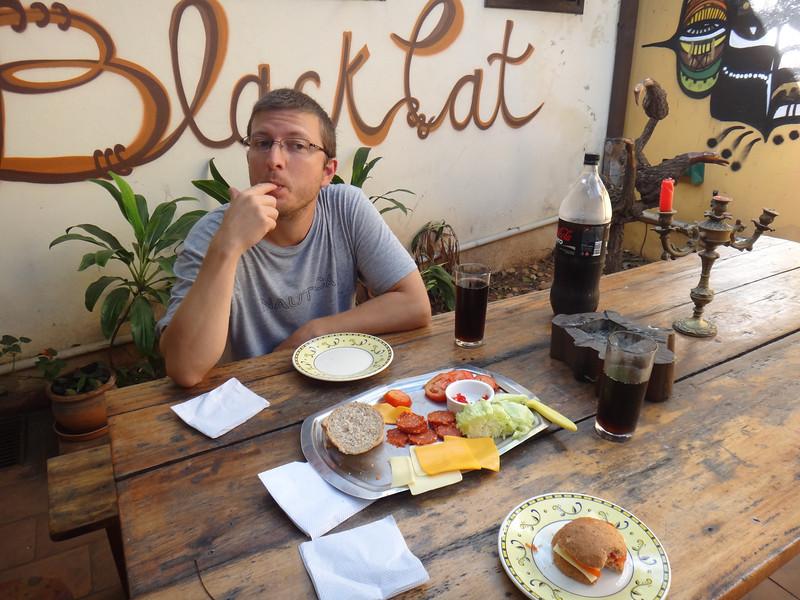 Enjoying a picnic lunch at Black Cat Hostel