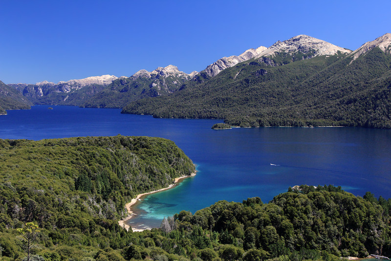 Lake Nahuel Huapi with the Brest Arm extending into upper Left. From Cerro LlaoLlao