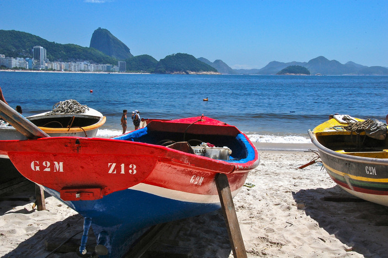 DSC_0208<br /> Colorful boats on Copacabana Beach.