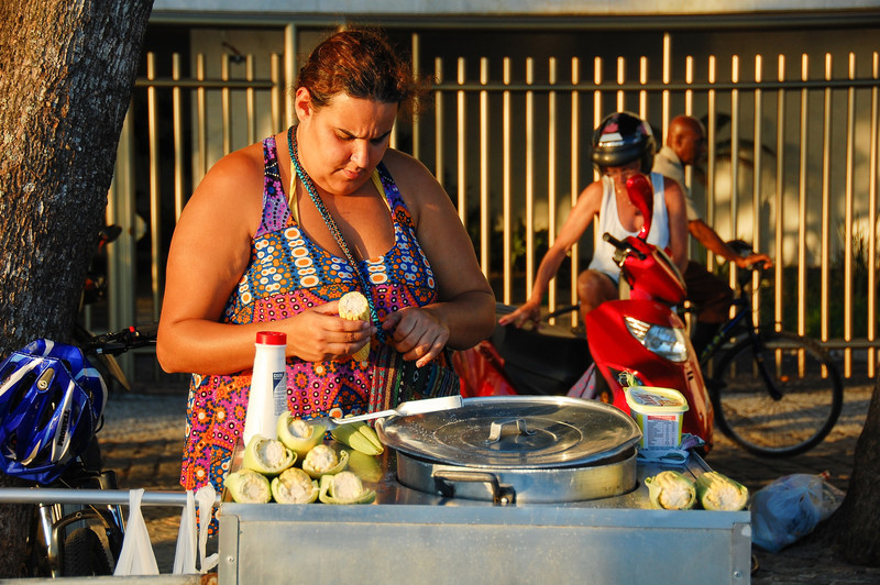 DSC_0374<br /> Food vendor at sunset near Aproador.